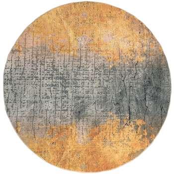 فرش ماشینی محتشم طرح گرد مدل بافت کد 100418 زمینه طلایی