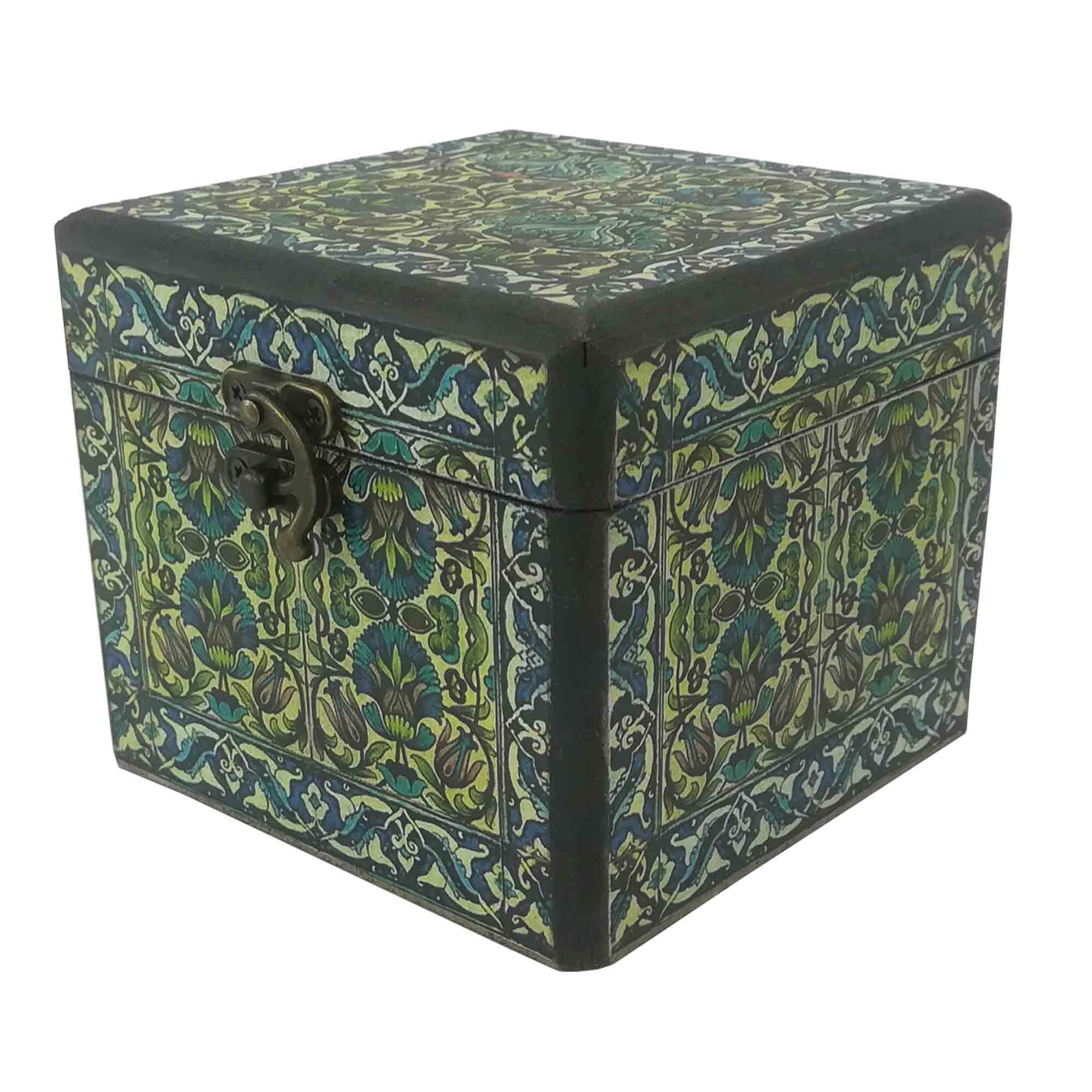 جعبه هدیه چوبی طرح صندوقچه سنتی کد 418