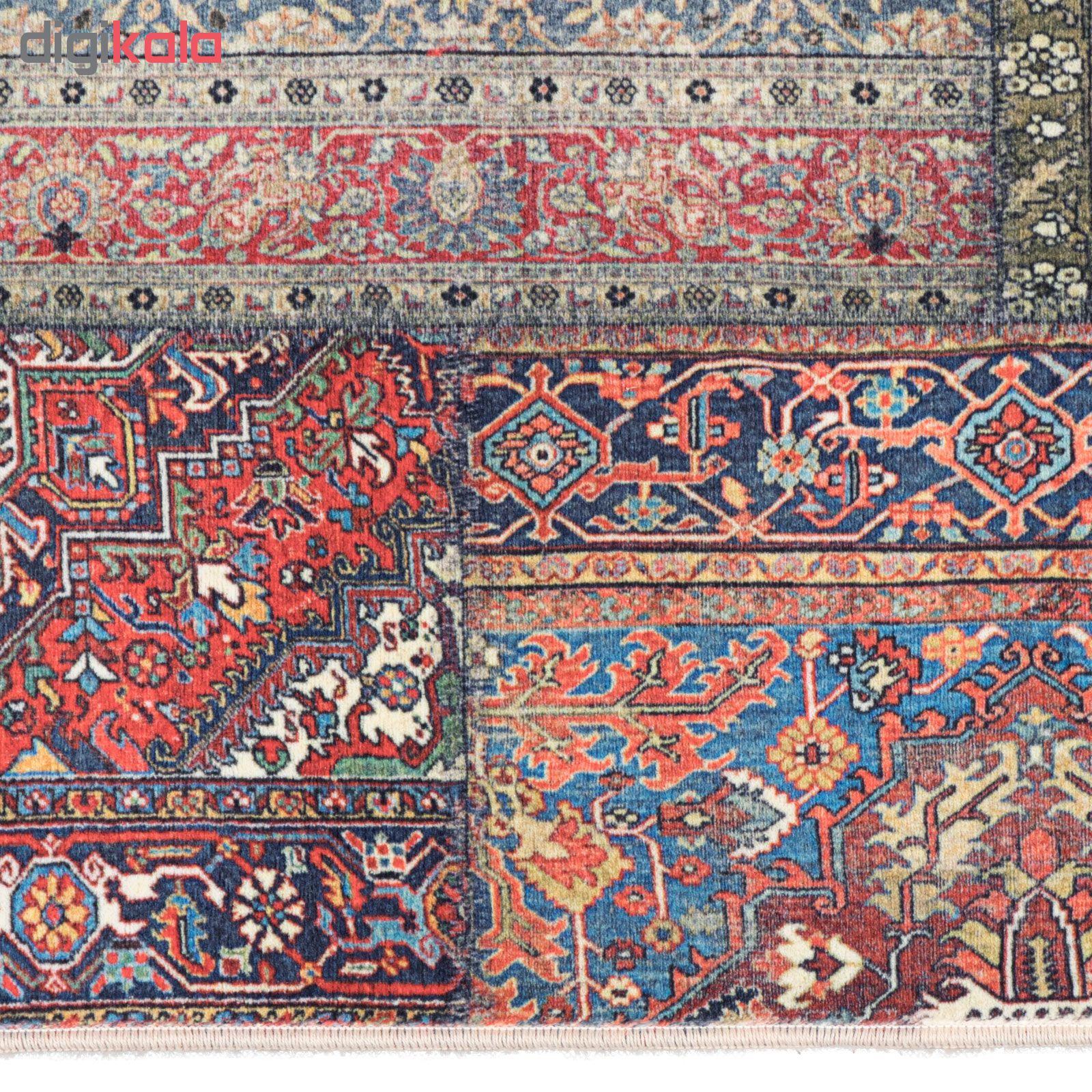 فرش ماشینی محتشم کاشان طرح چهل تکه کد 100500