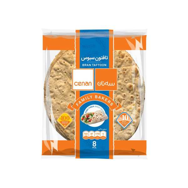 نان تافتون سبوس سه نان مقدار 450 گرم