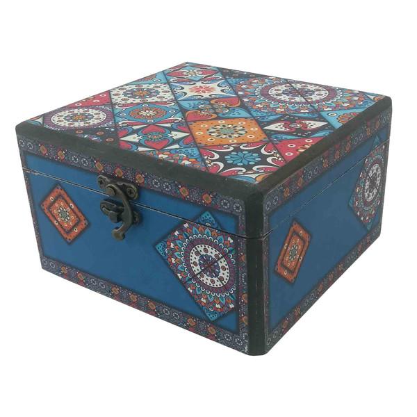 جعبه هدیه چوبی طرح صندوقچه سنتی کد 413