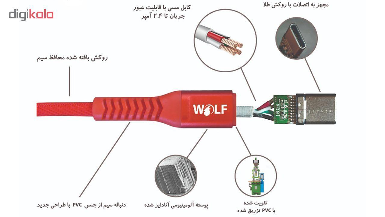 کابل تبدیل USB به USB-C ولف مدل Ds2.4 طول 1 متر main 1 5