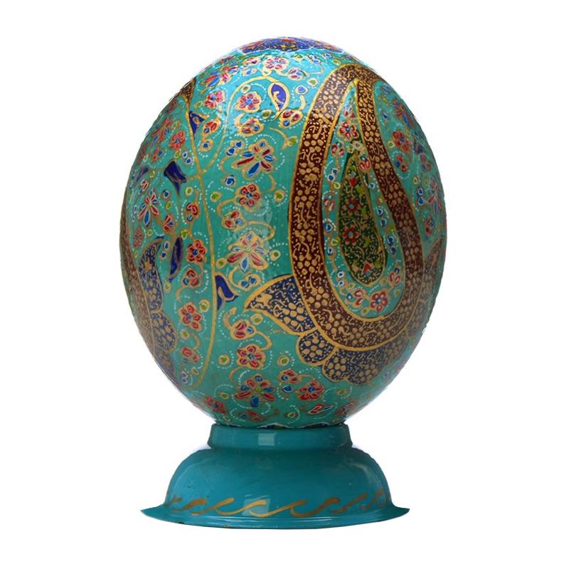 تخم شتر مرغ تزیینی گالری هنری و صنایع دستی رجایی مدل ترمه کد 101000387