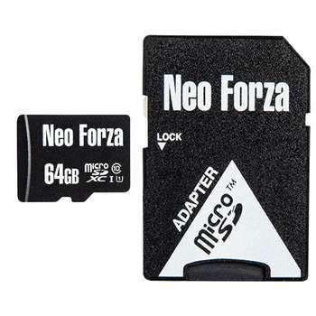 کارت حافظه microSDXC نئوفورزا کلاس 10 استاندارد UHS-I U1 سرعت 80MBps ظرفیت 64 گیگابایت به همراه آداپتور SD