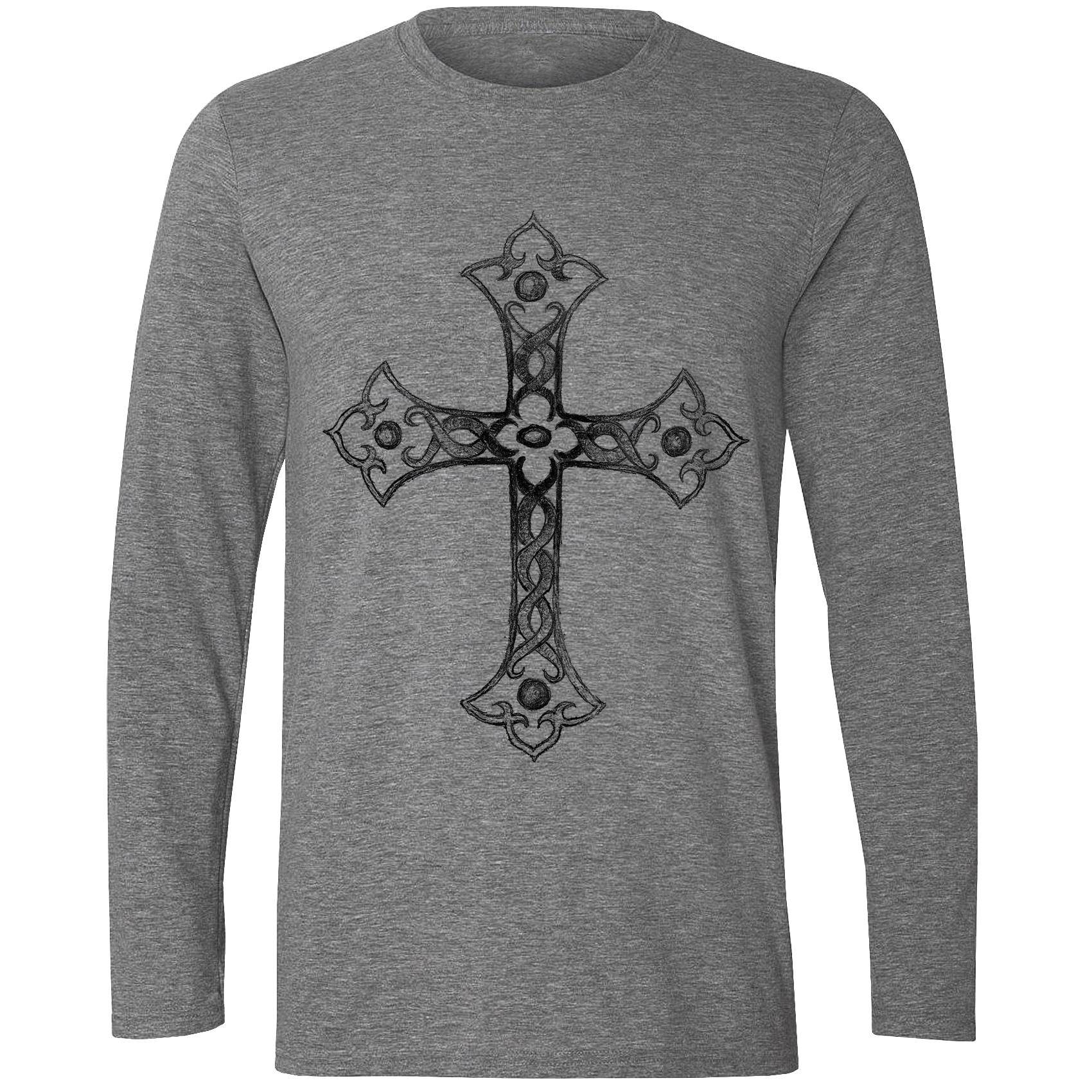 تیشرت آستین بلند مردانه طرح صلیب کد S365
