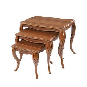 میز عسلی ویانا مدل کلاسیک کد 170GHK مجموعه 3 عددی