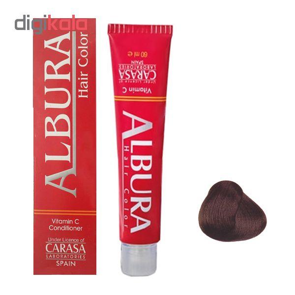 رنگ مو آلبورا مدل carasa شماره m2-3.2 حجم 100 میلی لیتر رنگ قهوه ای زیتونی تیره
