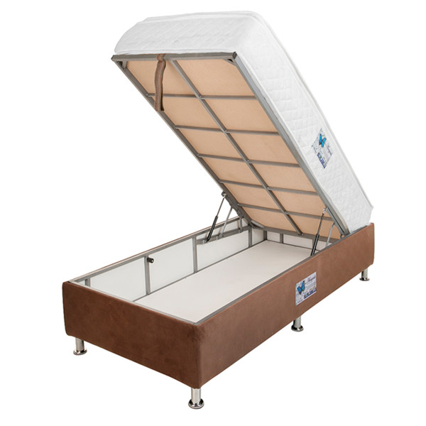 تخت خواب یک نفره آسایش باکس مدل AKA70 سایز 200 × 90 سانتی متر به همراه تشک طبی فنری یک طرف پد