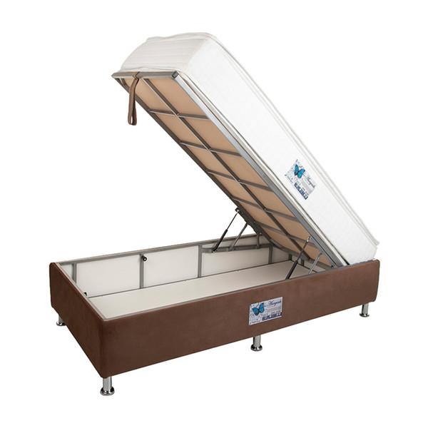 تخت خواب یک نفره آسایش باکس مدل AKA74 سایز 200 × 90 سانتی متر به همراه تشک طبی فنری دو طرف پد