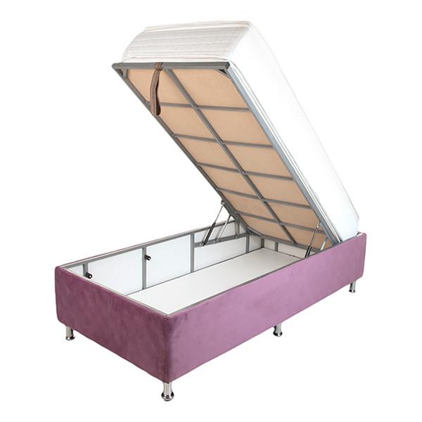 تخت خواب یک نفره آسایش باکس مدل AKA104 سایز 200 × 120سانتی متر به همراه تشک طبی فنری یک طرف پد