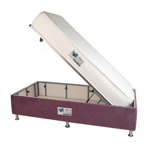 تخت خواب یک نفره آسایش باکس مدل AKA107 سایز 200 × 120سانتی متر به همراه تشک طبی فنری مموری فوم