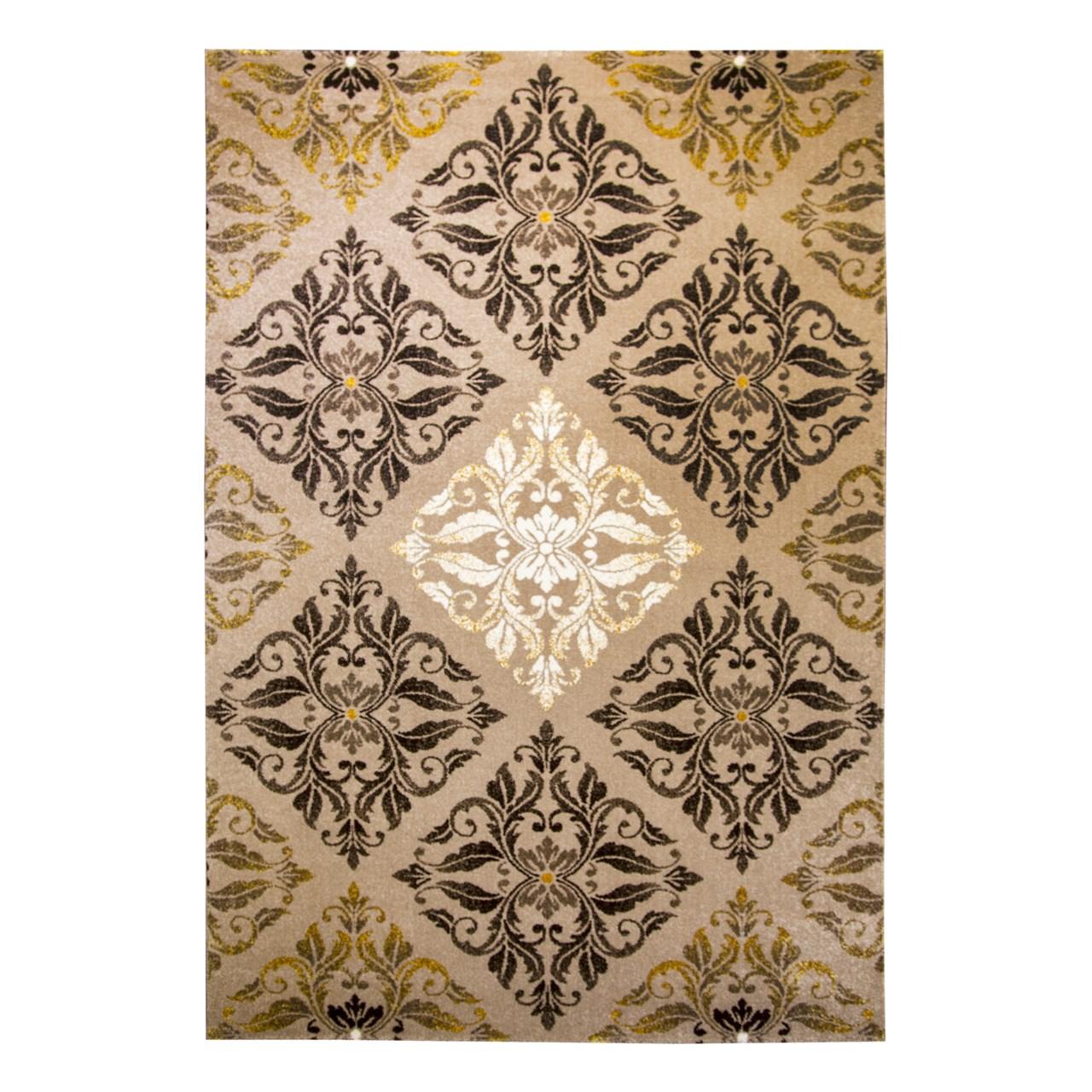 فرش ماشینی ساوین طرح کرانه زمینه شکلاتی