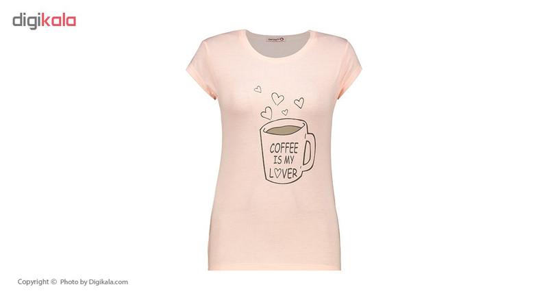ست تی شرت و شلوارک زنانه افراتین کد 6517 رنگ صورتی روشن