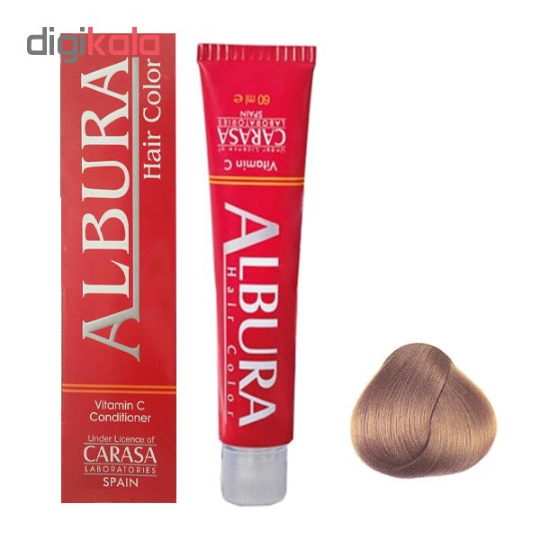 رنگ مو آلبورا مدل carasa شماره 6.34 حجم 100 میلی لیتر رنگ کاراملی