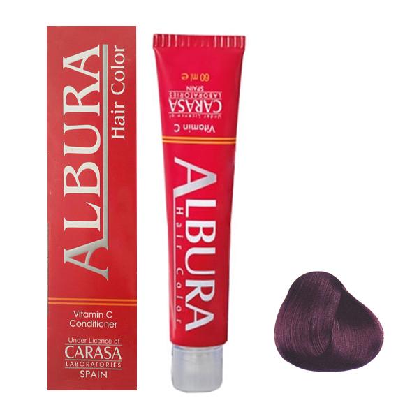 رنگ مو آلبورا مدل carasa شماره3.65حجم 100 میلی لیتر رنگ شرابی بنفش تیره