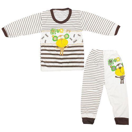 ست تیشرت و شلوار نوزاد طرح میمون شیطون کد 20