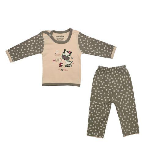 ست تی شرت و شلوار نوزادی دخترانه طرح گاو و جوجه