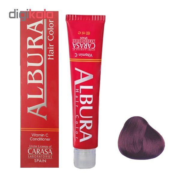 رنگ مو آلبورا مدل carasa شماره 4.65 حجم 100 میلی لیتر رنگ شرابی بنفش متوسط
