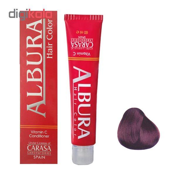 رنگ مو آلبورا مدل carasa شماره 5.65 حجم 100 میلی لیتر رنگ شرابی بنفش روشن