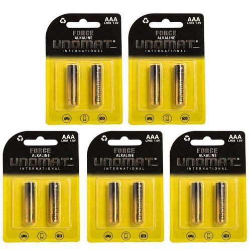 باتری نیم قلمی یونومات مدل Force Alkalaine بسته 10 عددی