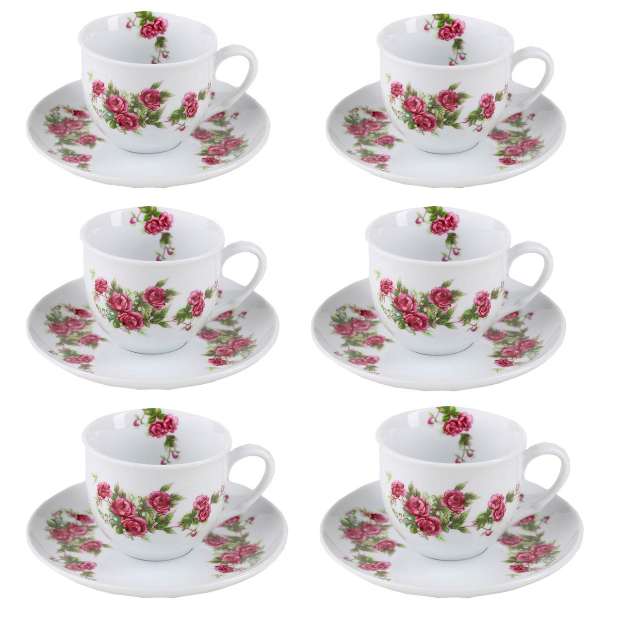 سرویس چایخوری 12 پارچه طرح گلسرخی کد EA18