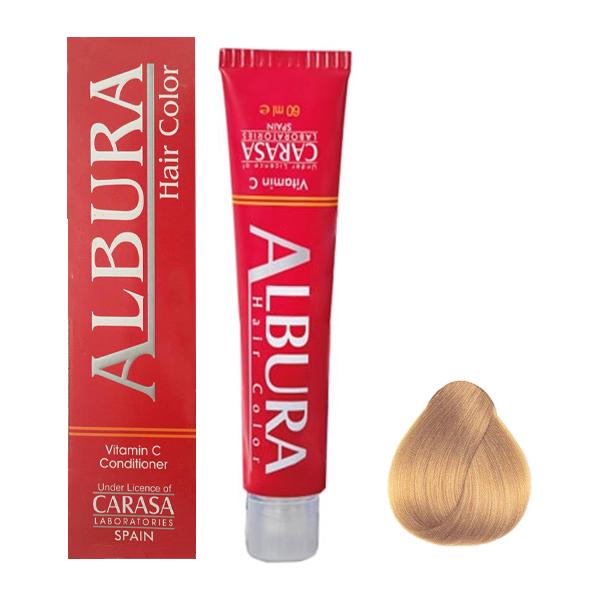 رنگ مو آلبورا مدل carasa شماره 9.3حجم 100 میلی لیتر رنگ بلوند طلایی خیلی روشن