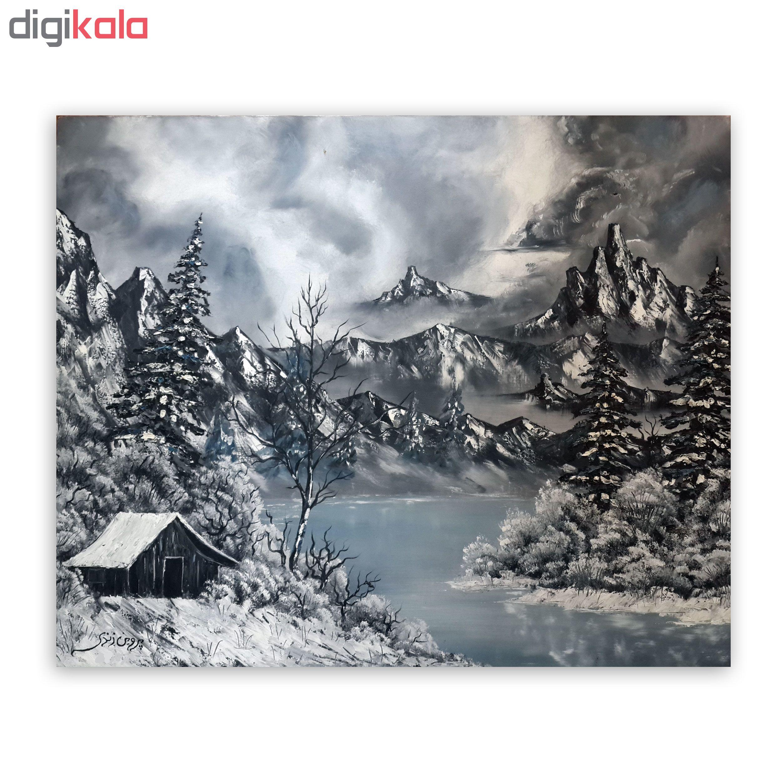 تابلو نقاشی رنگ روغن طرح زمستان
