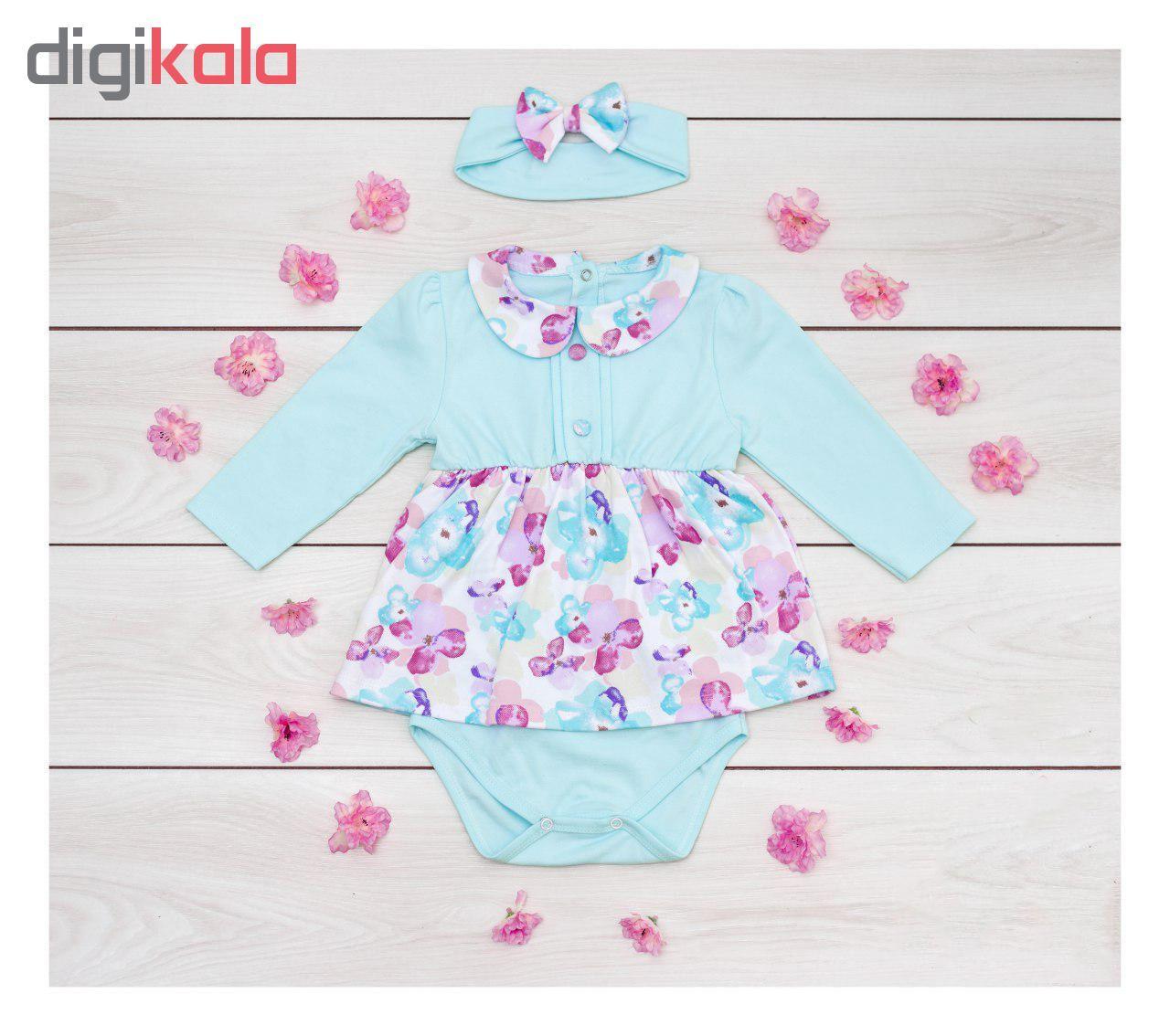 پیراهن نخی آستین بلند نوزادی دخترانه - بی بی ناز - چند رنگ - 2