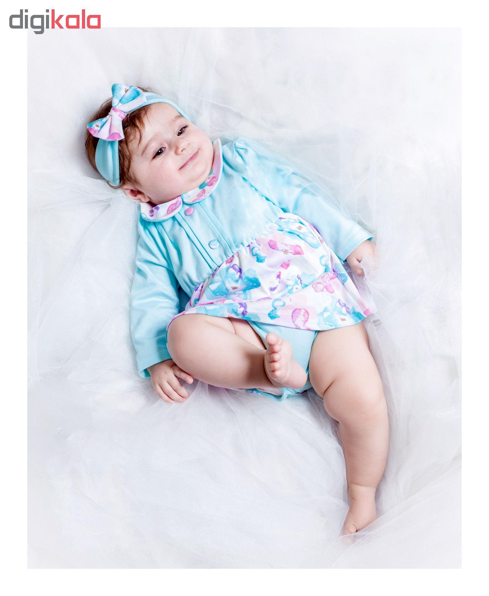 پیراهن نخی آستین بلند نوزادی دخترانه - بی بی ناز - چند رنگ - 3