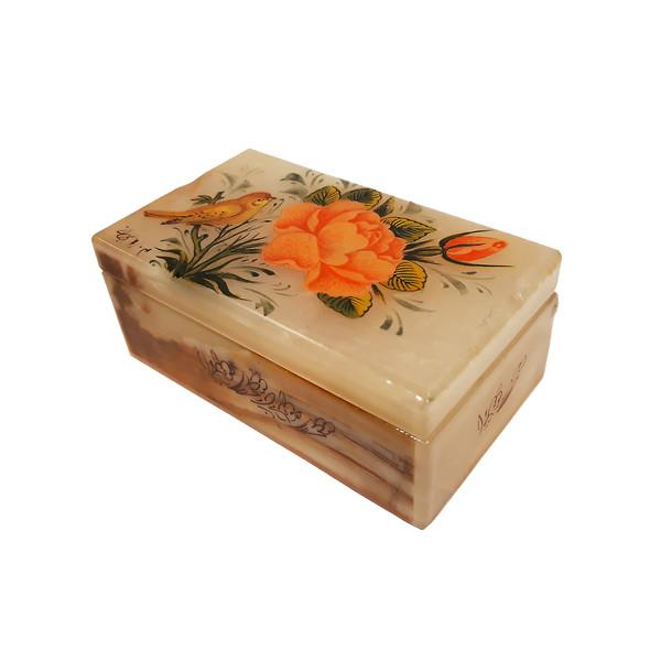 جعبه سنگ مرمر طرح گل و مرغ کد 30106