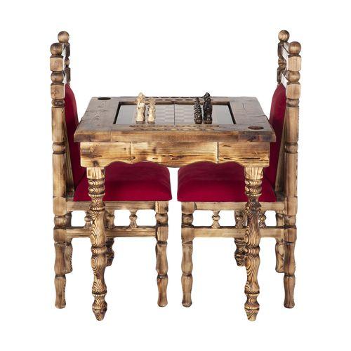 میز و صندلی  تخته نرد و شطرنج چوبر مدل 001