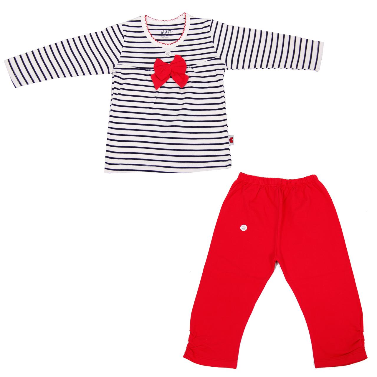 ست تی شرت و شلوار نوزادی دخترانه نیلی کد 003