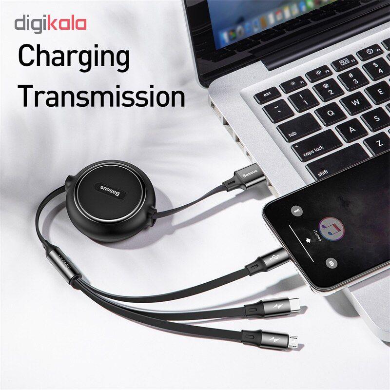 کابل تبدیل USB به USB-C/microUSB/لایتنینگ باسئوس مدل CAMLT-JH01 طول 1.2 متر main 1 3