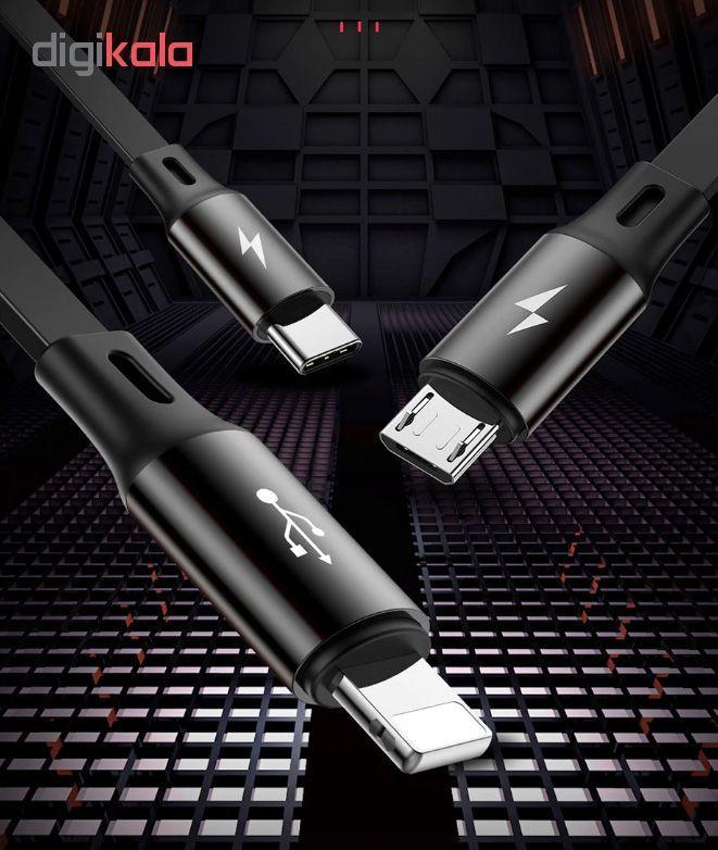 کابل تبدیل USB به USB-C/microUSB/لایتنینگ باسئوس مدل CAMLT-JH01 طول 1.2 متر main 1 5