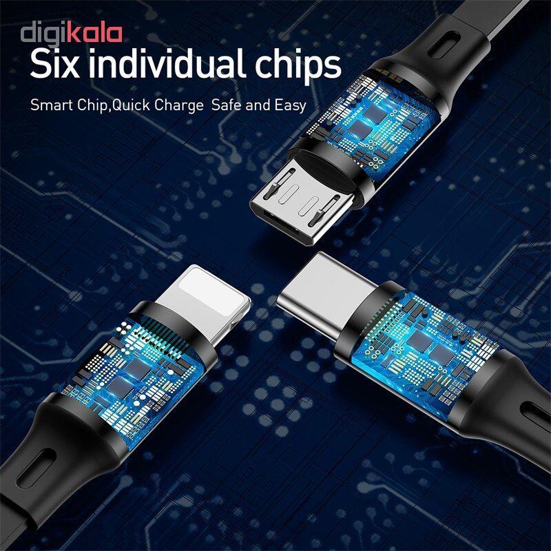 کابل تبدیل USB به USB-C/microUSB/لایتنینگ باسئوس مدل CAMLT-JH01 طول 1.2 متر main 1 7