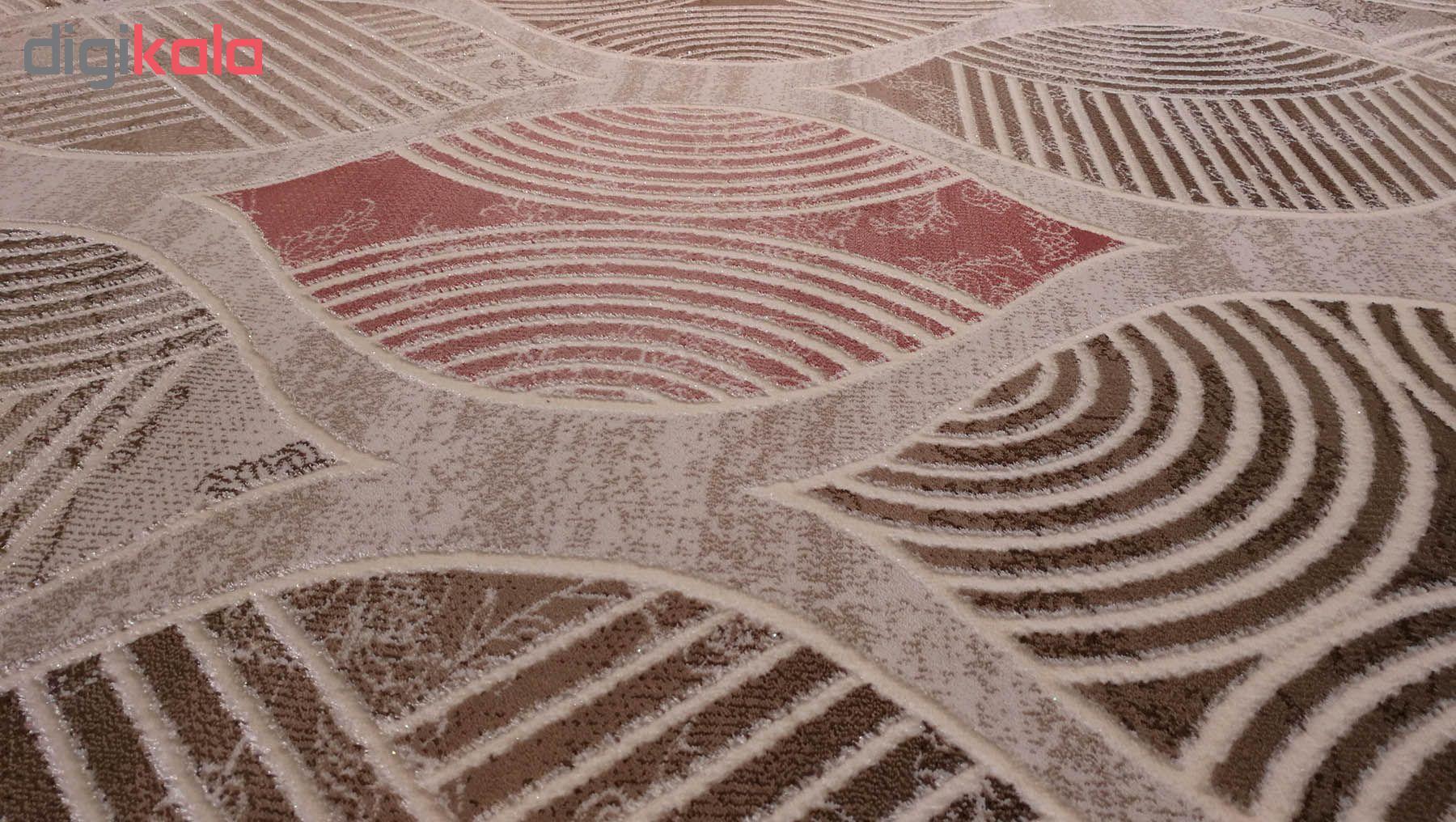 فرش ماشینی زمرد مشهد کد KR31 زمینه کرم صورتی