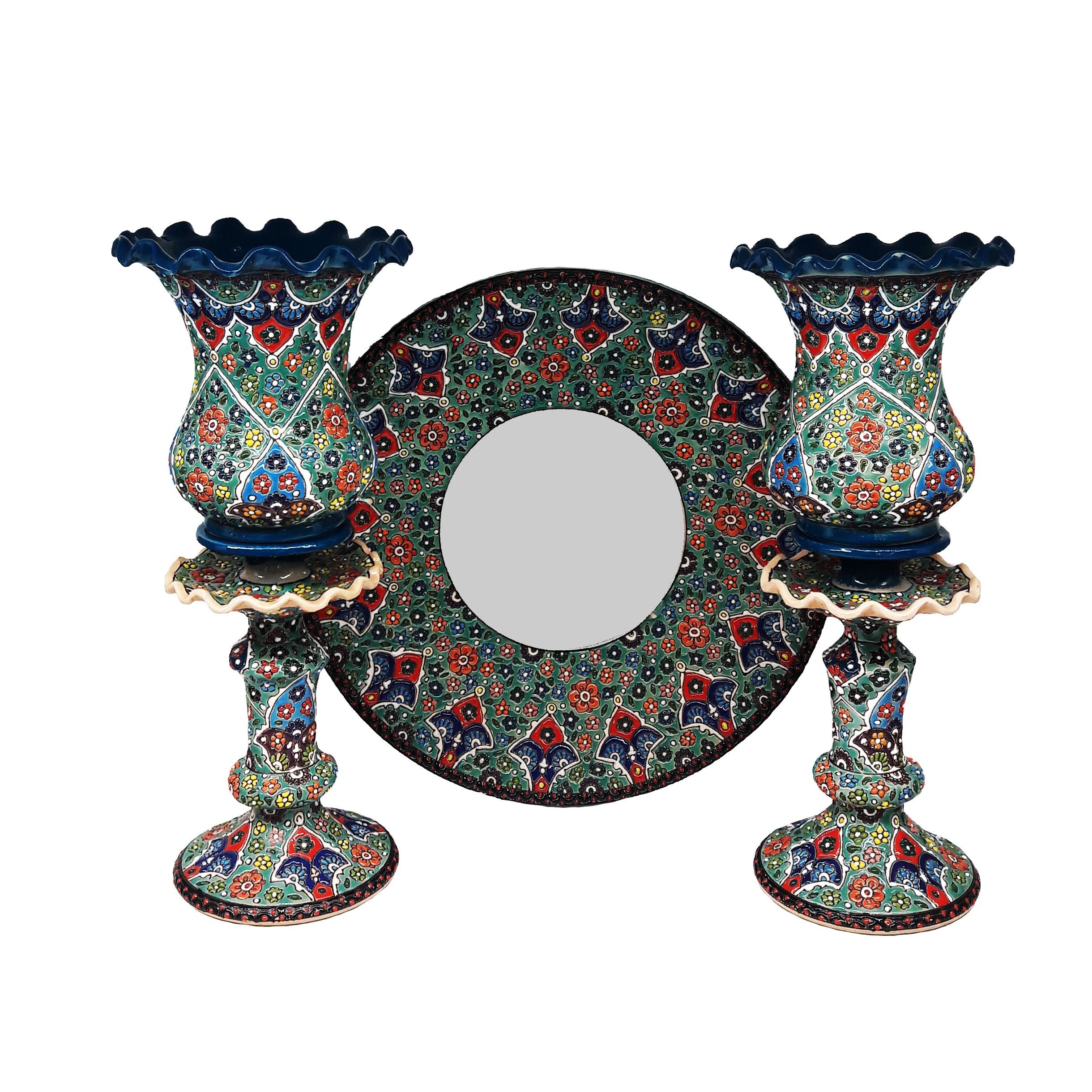 ست آینه و شمعدان میناکاری کد ۵۶ مجموعه ۳ عددی
