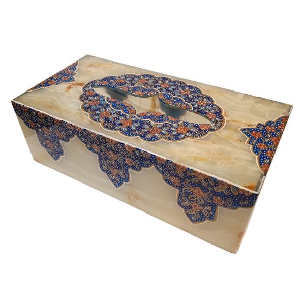 جعبه دستمال کاغذی سنگ مرمر طرح تذهیب فرشی کد 302211