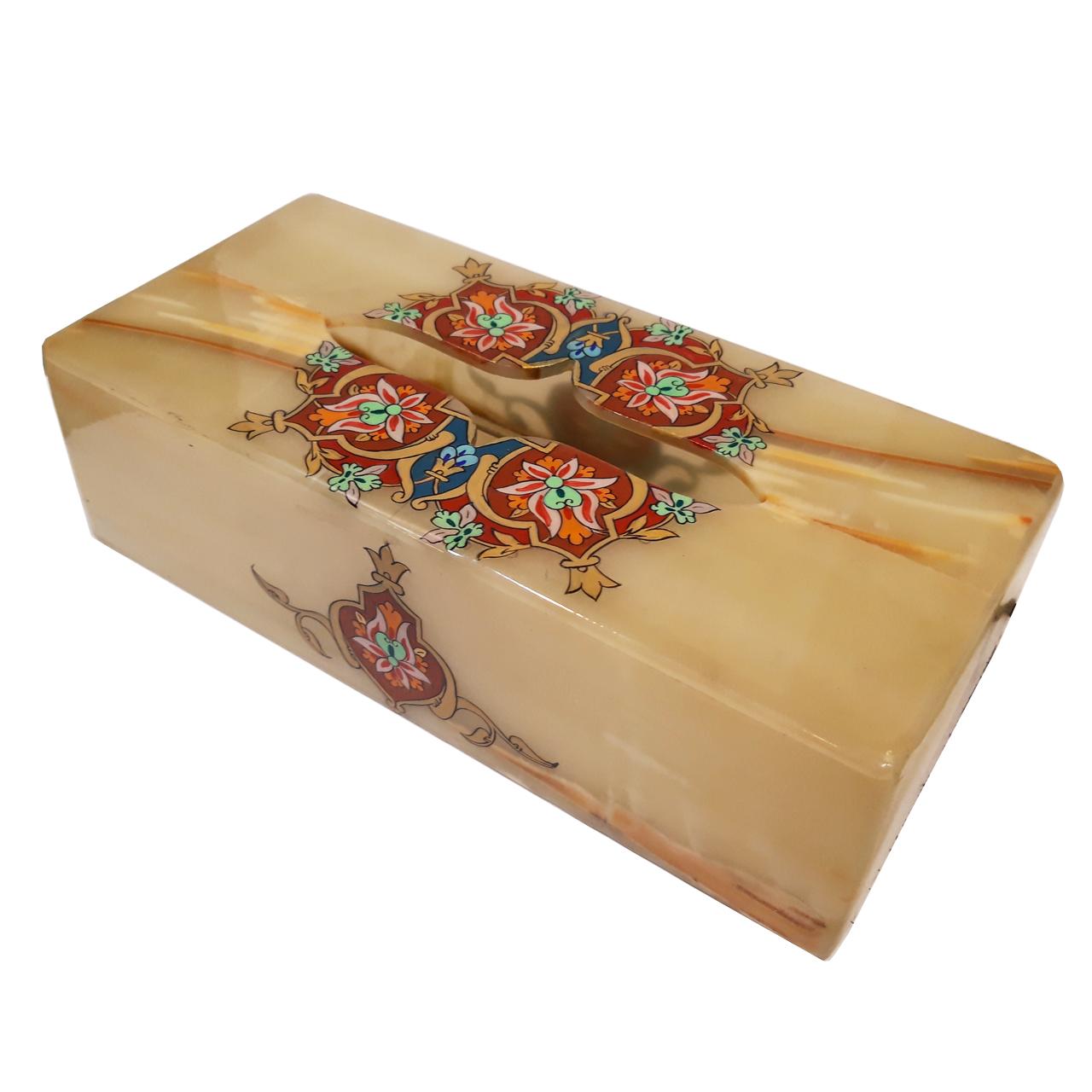 جعبه دستمال کاغذی سنگ مرمر طرح ترنج کد 2210