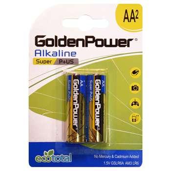 باتری قلمی گلدن پاور مدل Eco Total Super Alkaline بسته 2 عددی