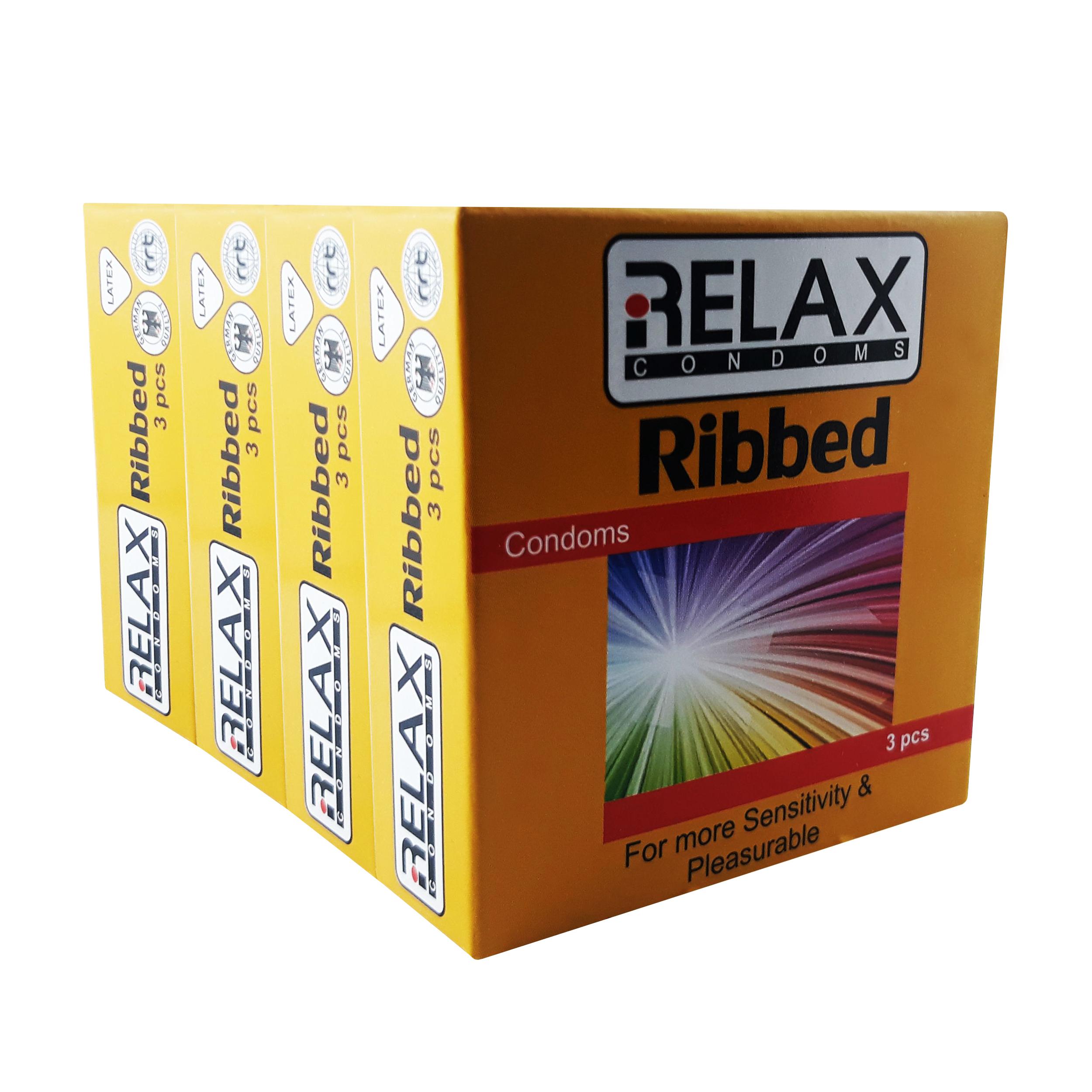 کاندوم ریلکس مدل RIBBED کد R36 مجموعه 4 عددی