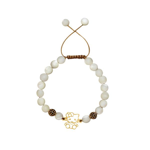 دستبند طلا 18 عیار دخترانه گالری مهرسا مدل Kitty-115
