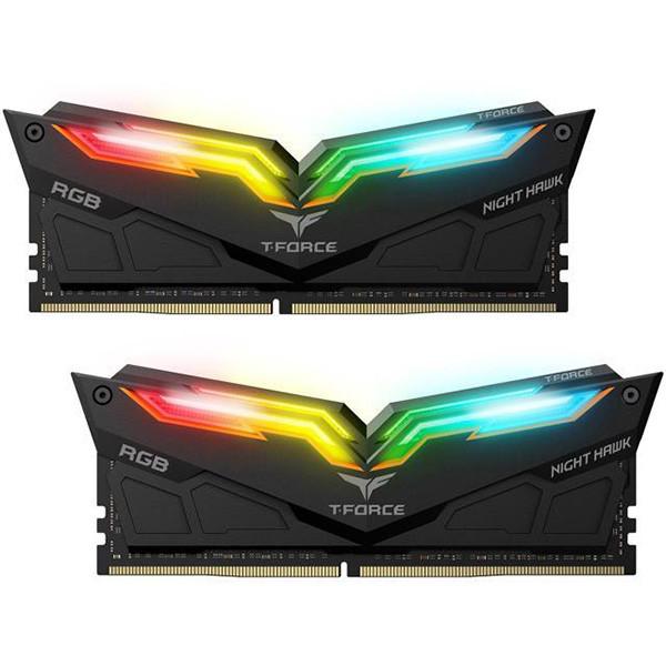 رم دسکتاپ DDR4 دو کاناله 3000 مگاهرتز CL16 تیم گروپ مدل  T-Force Night Hawk RGB ظرفیت 16 گیگابایت