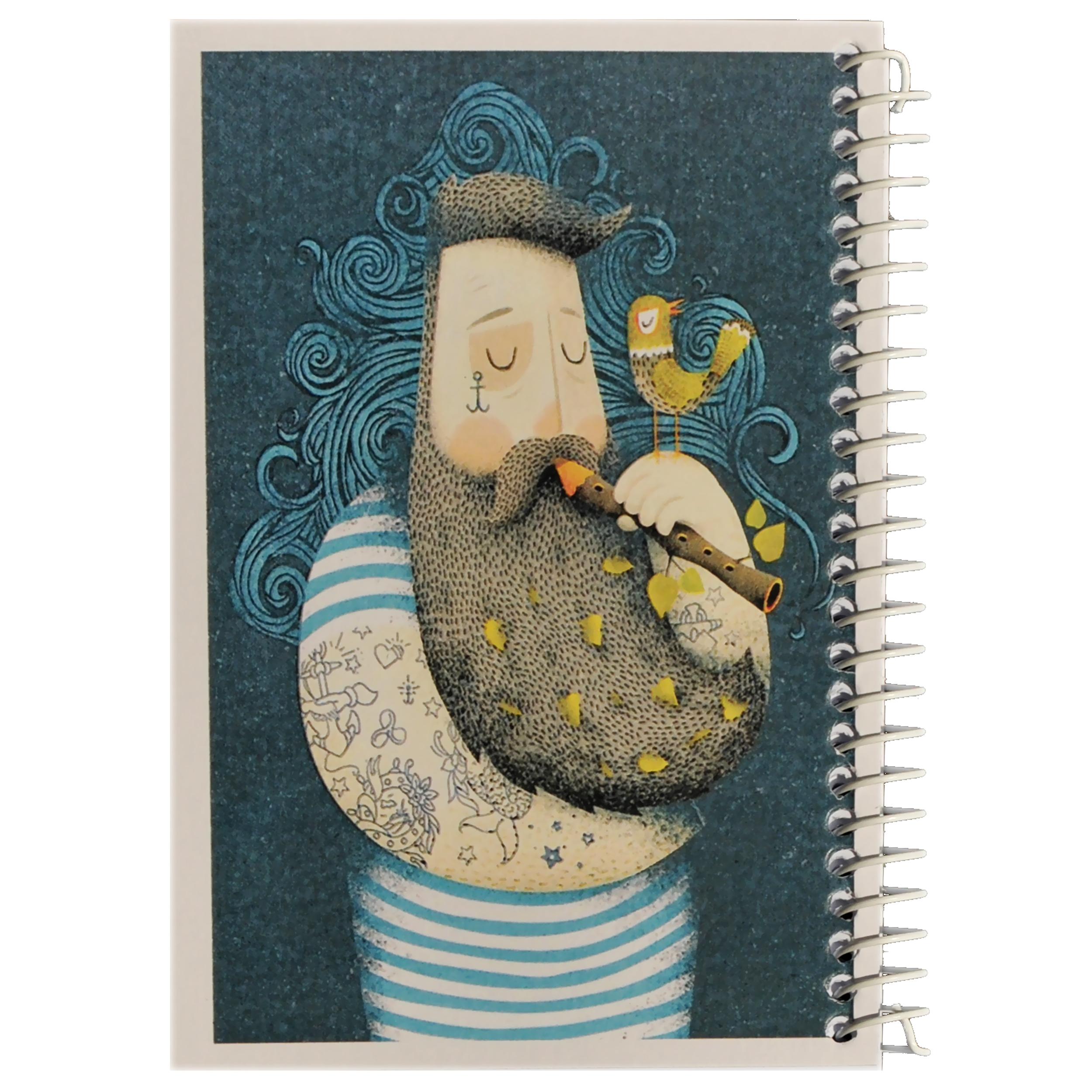 قیمت خرید دفترچه یادداشت مدل کژوال طرح فلوت نواز و پرنده ی کوچک اورجینال