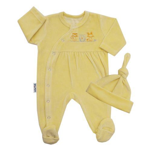 ست سرهمی و کلاه نوزادی آدمک کد 1328 رنگ لیمویی