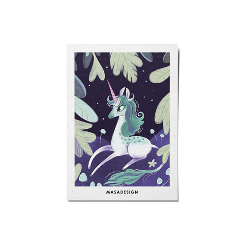 کارت پستال ماسا دیزاین طرح اسب تک شاخ کد POST29