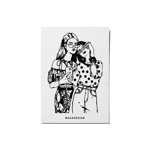 کارت پستال ماسا دیزاین طرح سلفی دخترها کد POST38