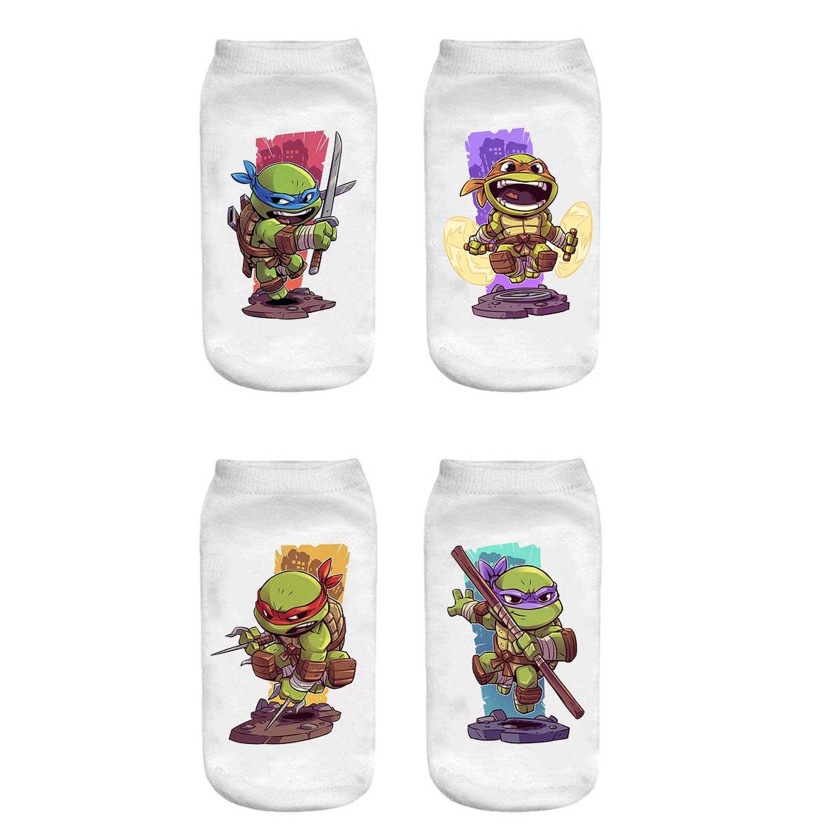 جوراب پسرانه طرح Ninja Turtles کد 10003 مجموعه  2 عددی