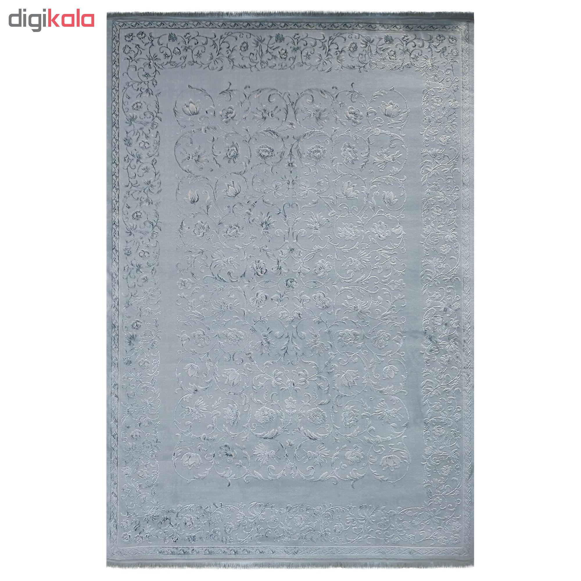 فرش ماشینی زمرد مشهد کد DI02 زمینه سبز آبی