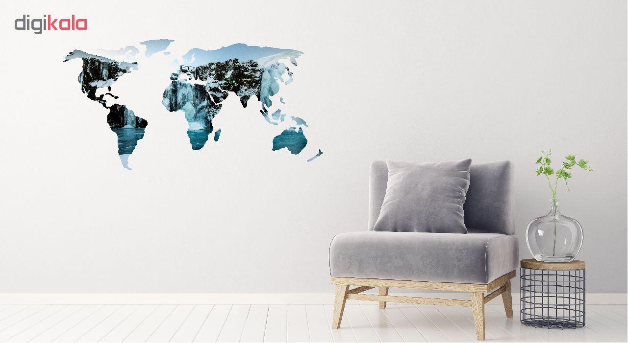 استیکر دیواری طرح نقشه جهان کد 07